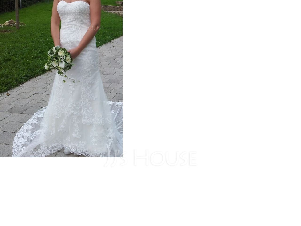 Trumpet/Mermaid Sweetheart Chapel Train Tulle Lace Wedding Dress With Beading (002012605)