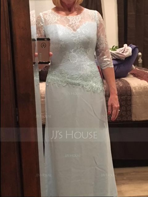 A-Line/Princess Scoop Neck Floor-Length Chiffon Lace Evening Dress (017113533)