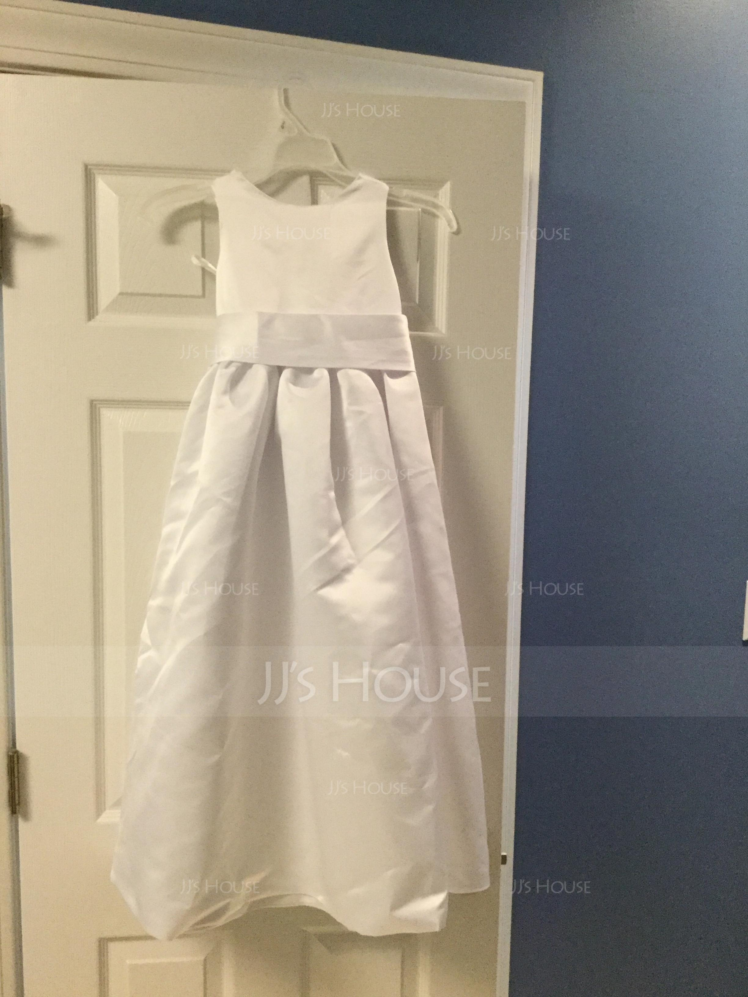 Plesové Délka ke kotníkům Flower Girl Dress - Satén Bez rukávů Scoop Neck S Šerpy/Luk (010007314)