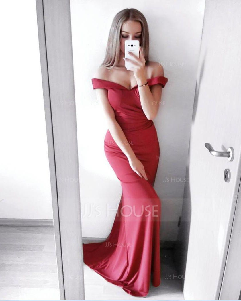 Sheath/Column Off-the-Shoulder Sweep Train Jersey Prom Dresses With Ruffle Split Front (018112728)