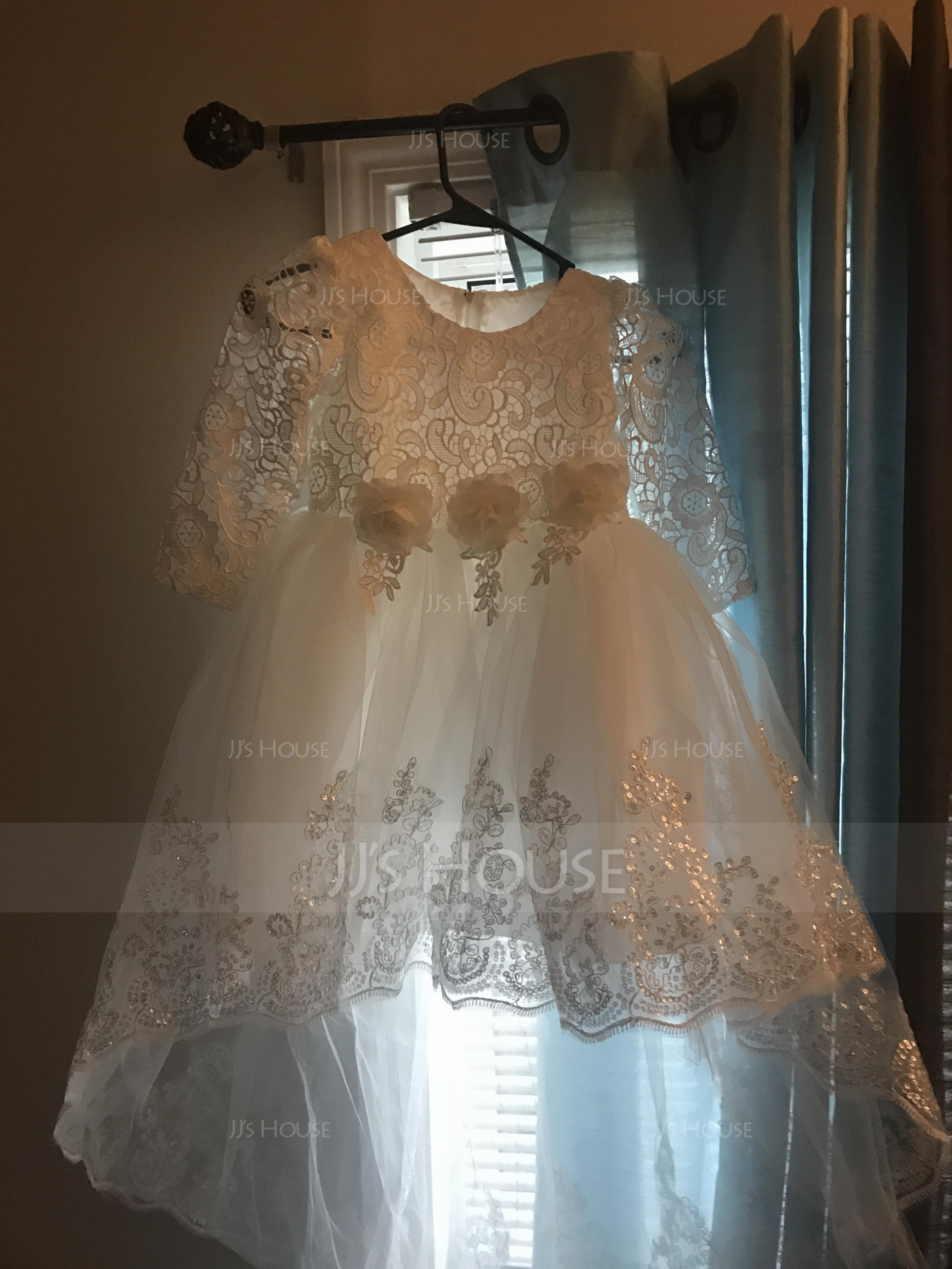 A-Line/Princess Knee-length/Asymmetrical Flower Girl Dress - Cotton Blends Long Sleeves Scoop Neck With Lace/Flower(s)/Sequins (010087486)