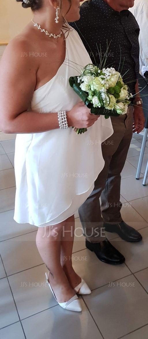 Sheath/Column One-Shoulder Short/Mini Chiffon Wedding Dress With Beading Cascading Ruffles (002011748)