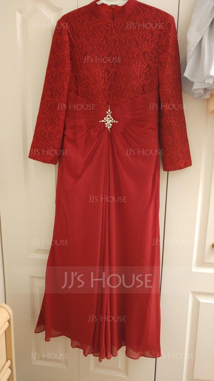 A-Line/Princess High Neck Floor-Length Chiffon Prom Dresses With Ruffle Beading (018112872)