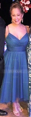 A-Line V-neck Asymmetrical Tulle Prom Dresses (018112653)