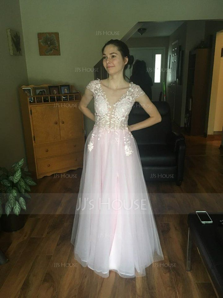 A-Line/Princess V-neck Floor-Length Tulle Prom Dresses With Split Front (018138353)