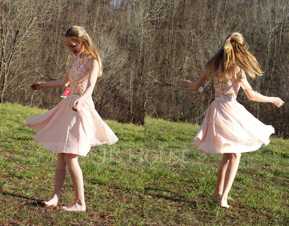 Трапеция Высокая шея Длина до колен шифон Коктейльные Платье с развальцовка блестки (016091229)