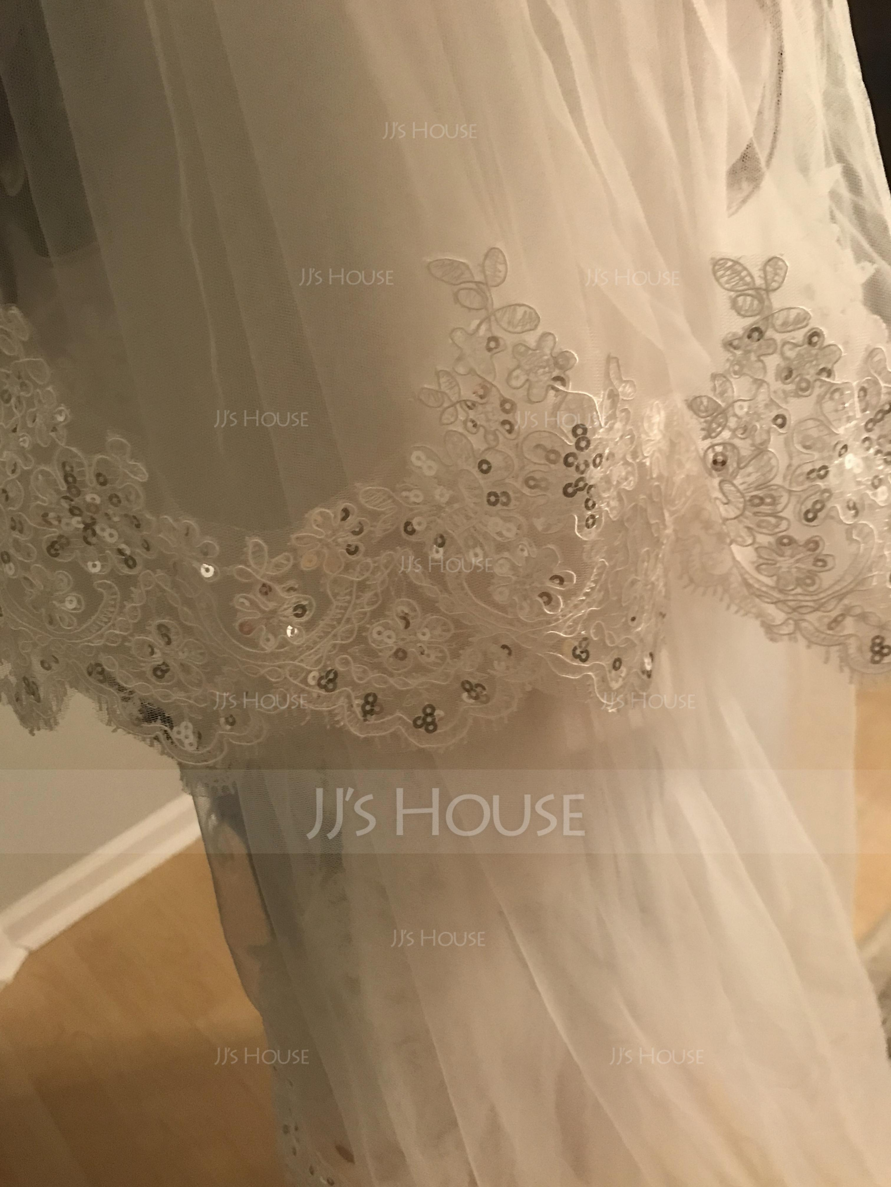Two-tier Lace Applique Edge Cathedral Bridal Veils With Lace (006114024)