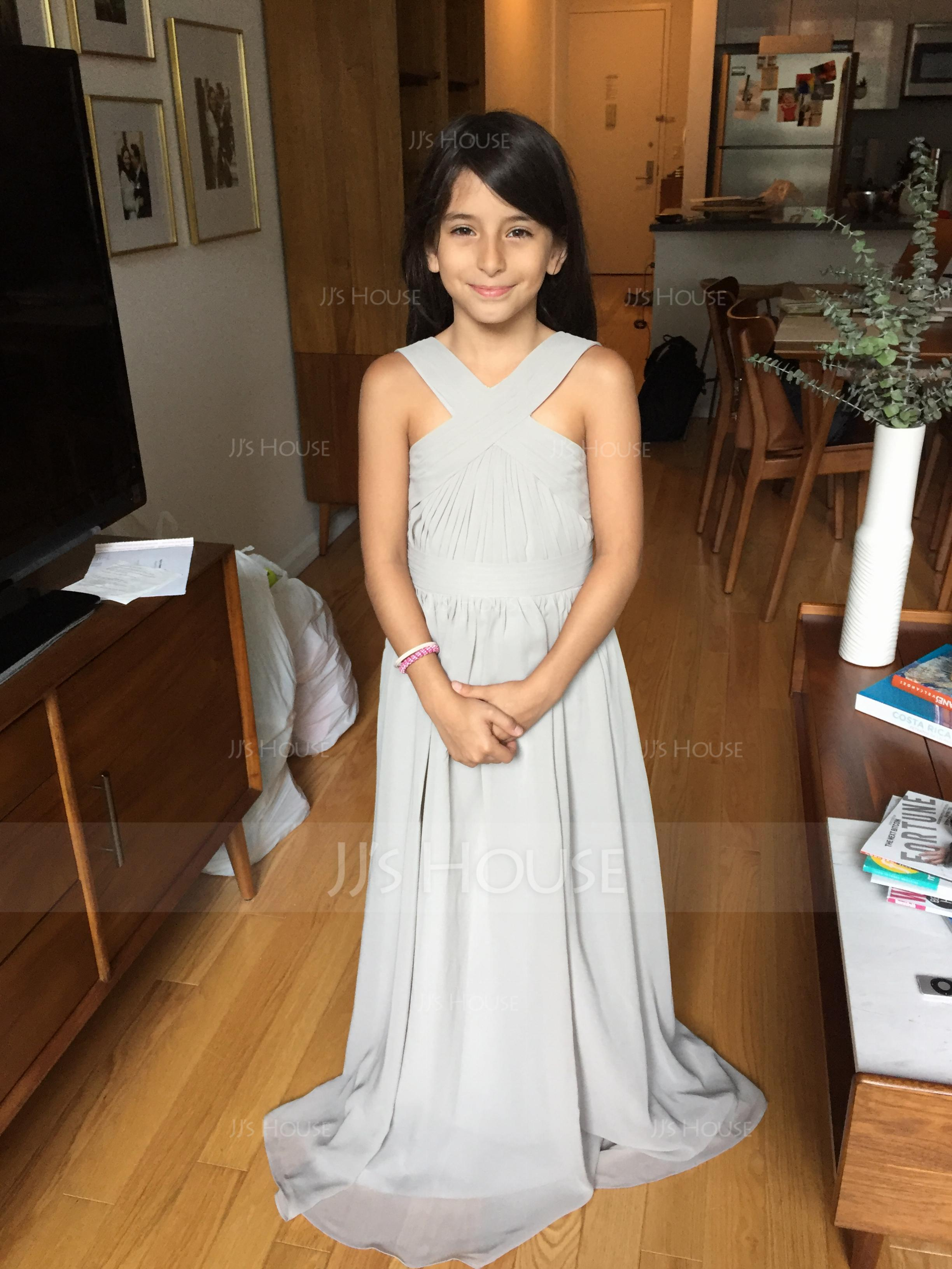 A-Line V-neck Floor-Length Chiffon Junior Bridesmaid Dress With Ruffle Bow(s) (009097070)