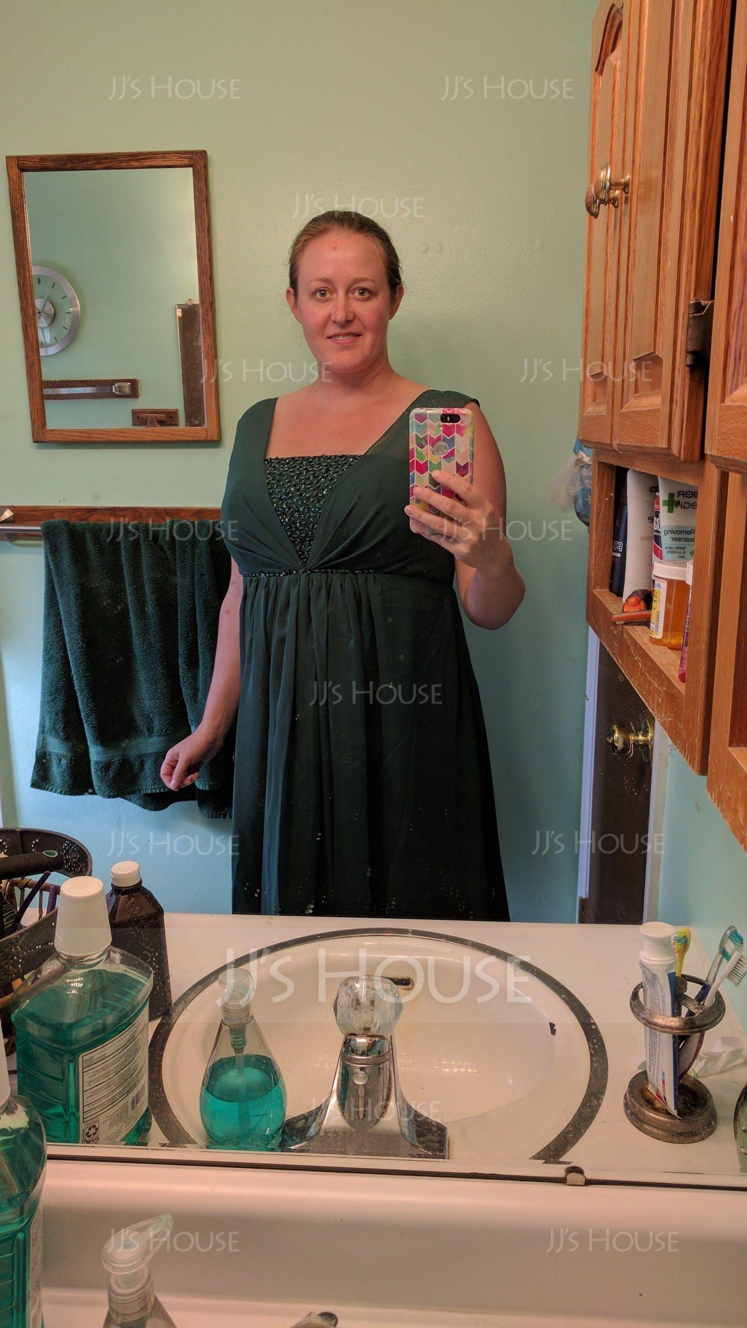 Empire Square Neckline Floor-Length Chiffon Maternity Bridesmaid Dress With Ruffle Beading Sequins (045004412)