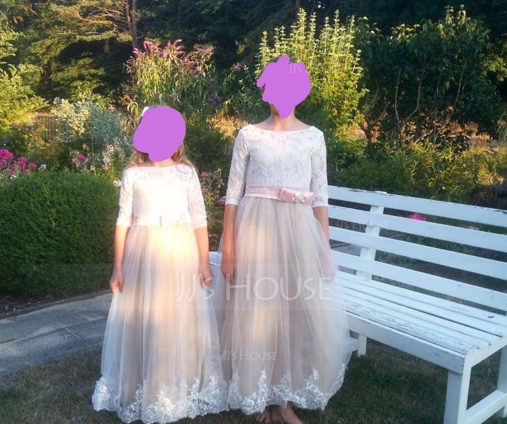 Ball Gown Floor-length Flower Girl Dress - Tulle/Charmeuse/Lace 3/4 Sleeves Scoop Neck With Sash/Beading/Bow(s) (010136586)
