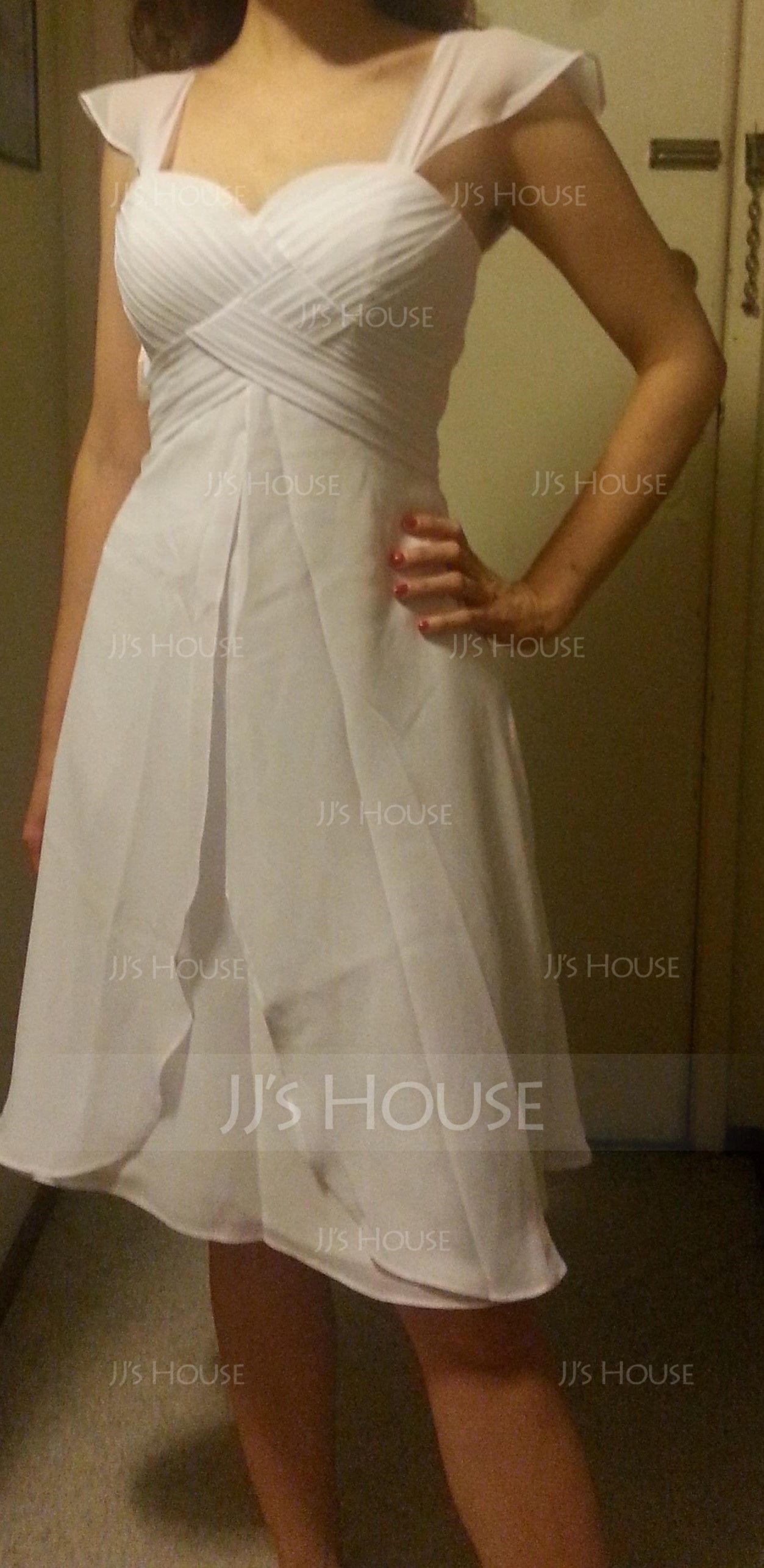 A-Line/Princess Sweetheart Knee-Length Chiffon Wedding Dress With Ruffle (002058810)