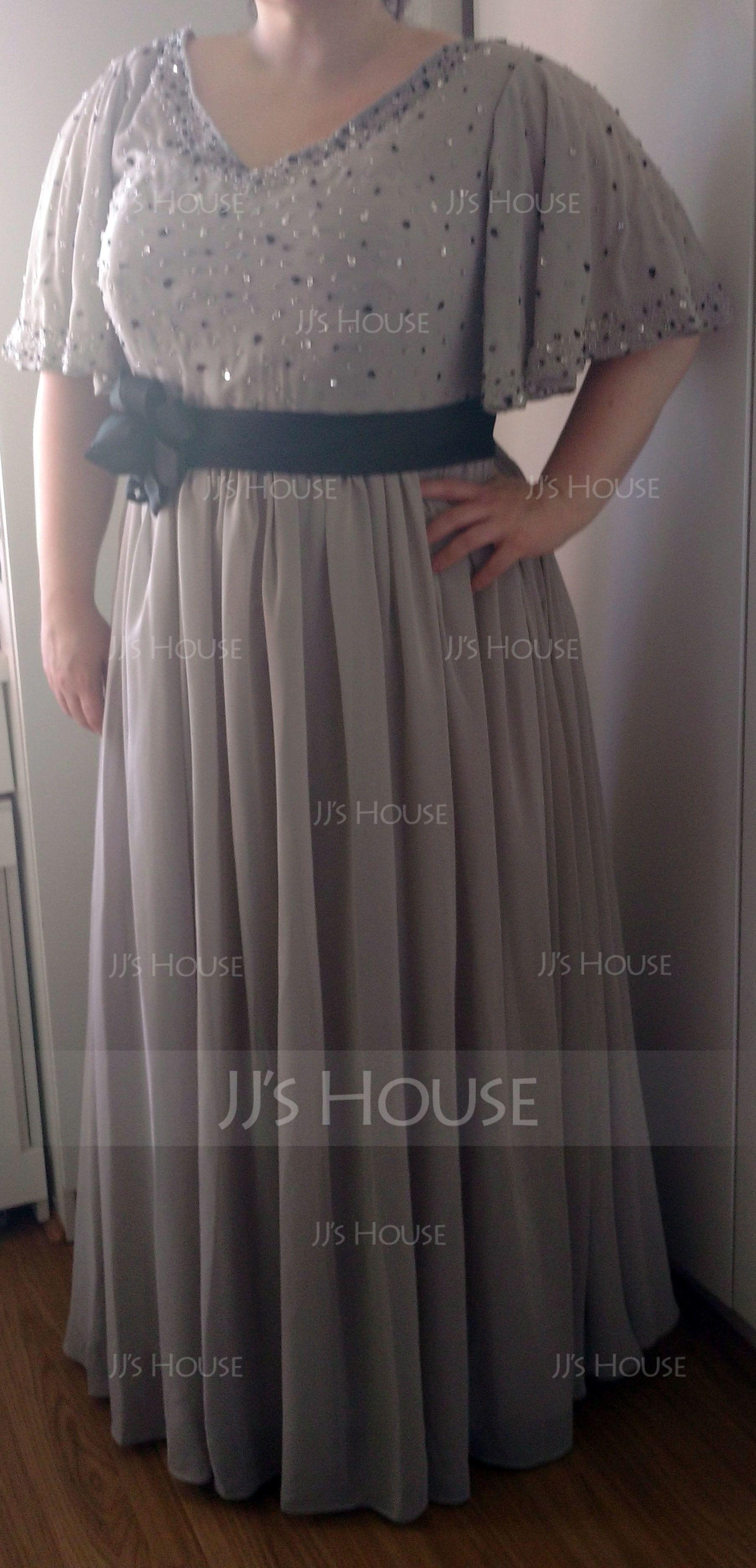 A-Line/Princess V-neck Floor-Length Chiffon Evening Dress With Sash Beading Flower(s) Sequins (017019724)