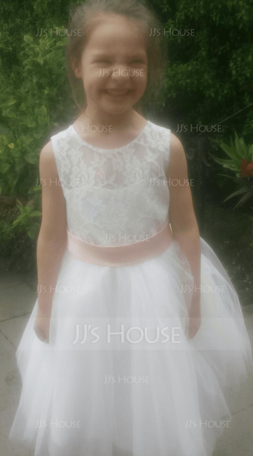 Duchesse-Linie/Princess Knielang Blumenmädchenkleid - Tüll/Spitze Ärmellos Ovaler mit Schleifenbänder/Stoffgürtel/Schleife(n) (010087933)