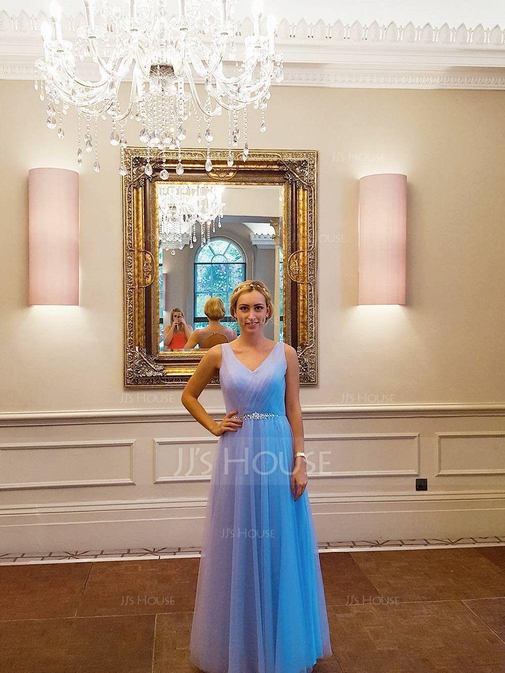 Princesový V-Výstřihem Délka na zem Tyl Šaty pro družičku S Volán Zdobení korálky flitry (266183714)