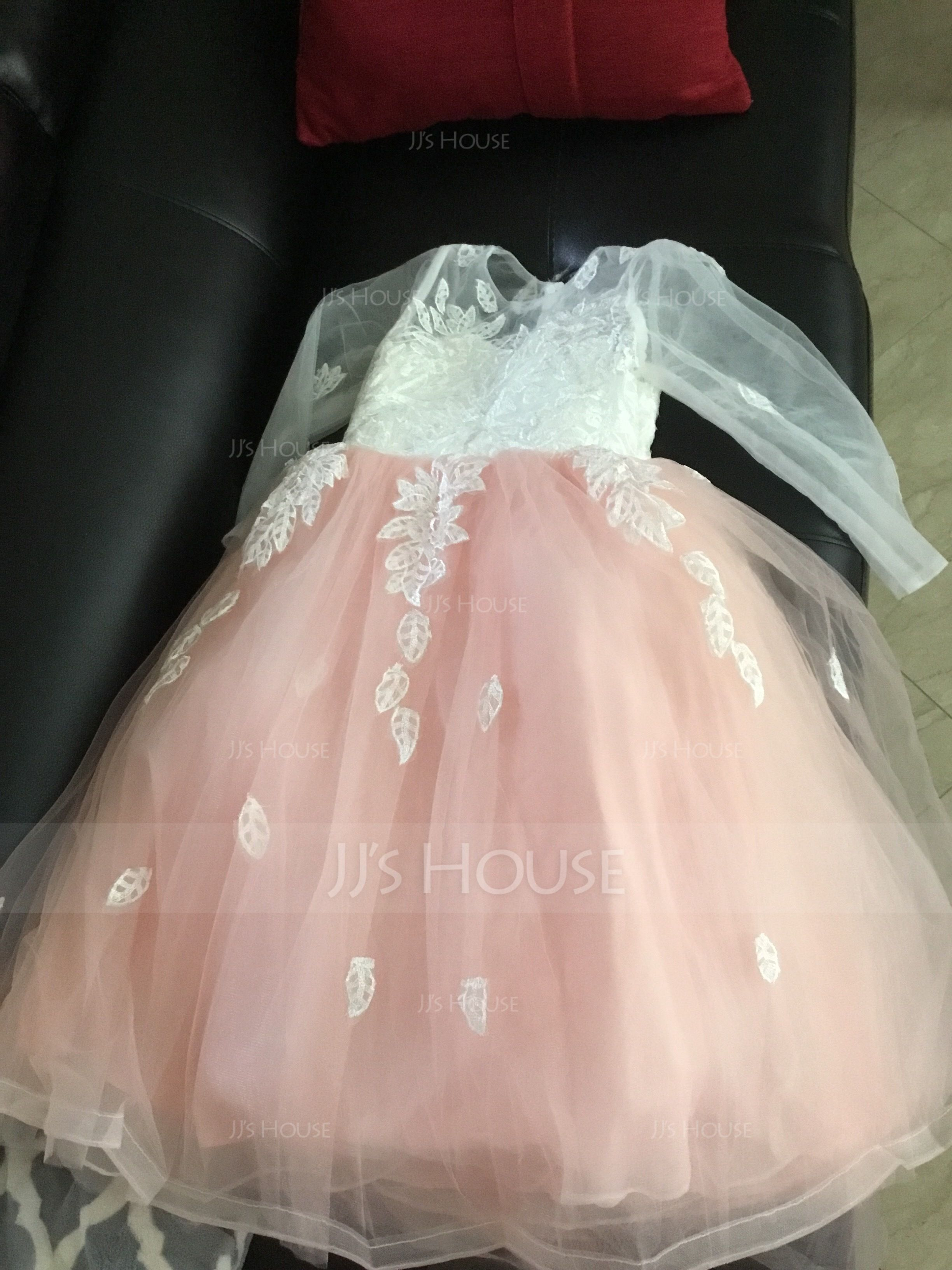 Ball Gown Floor-length Flower Girl Dress - Tulle/Lace Long Sleeves Scoop Neck With Appliques/Bow(s) (010143270)