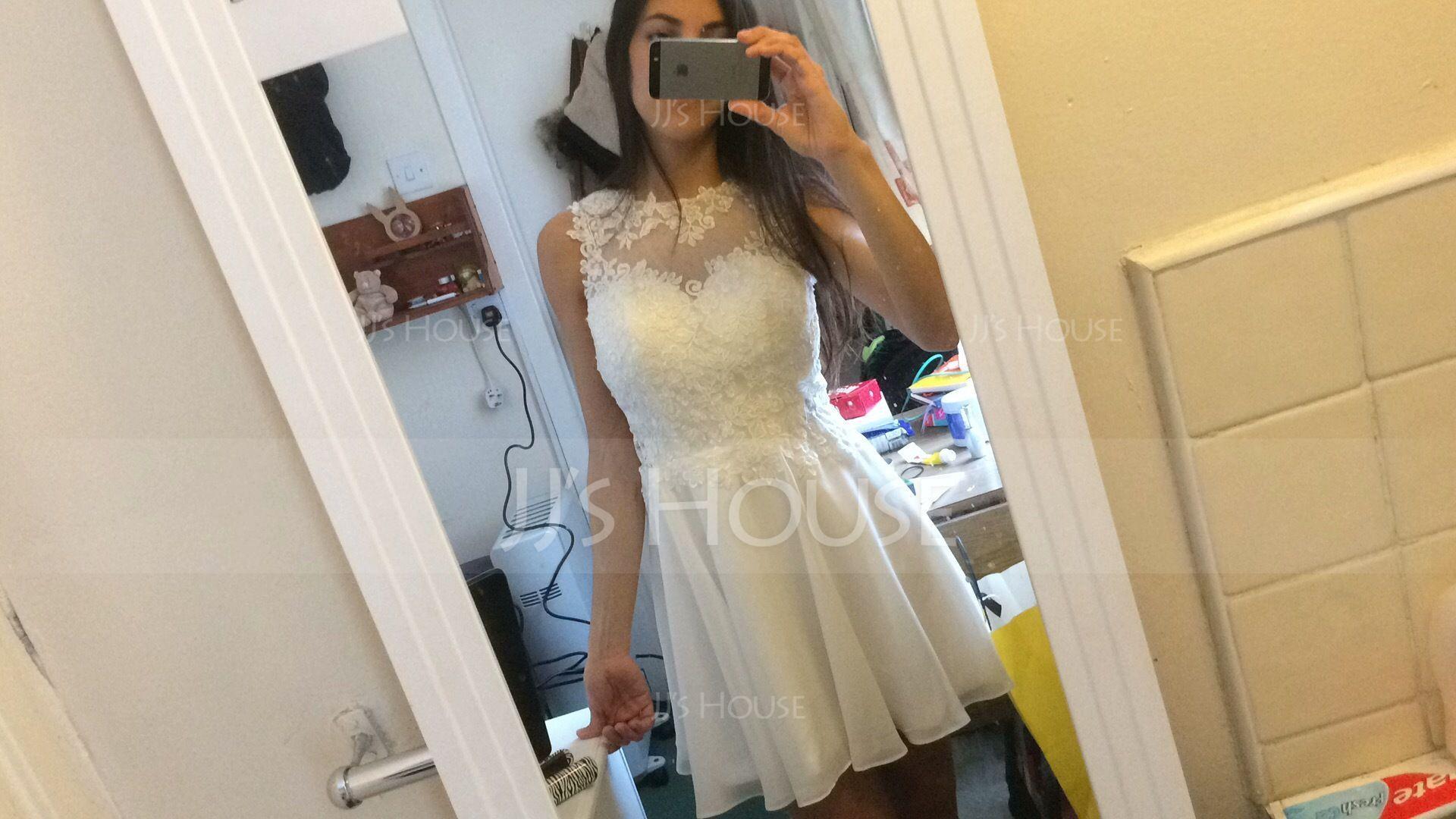 A-Line/Princess Scoop Neck Short/Mini Chiffon Cocktail Dress (016091226)