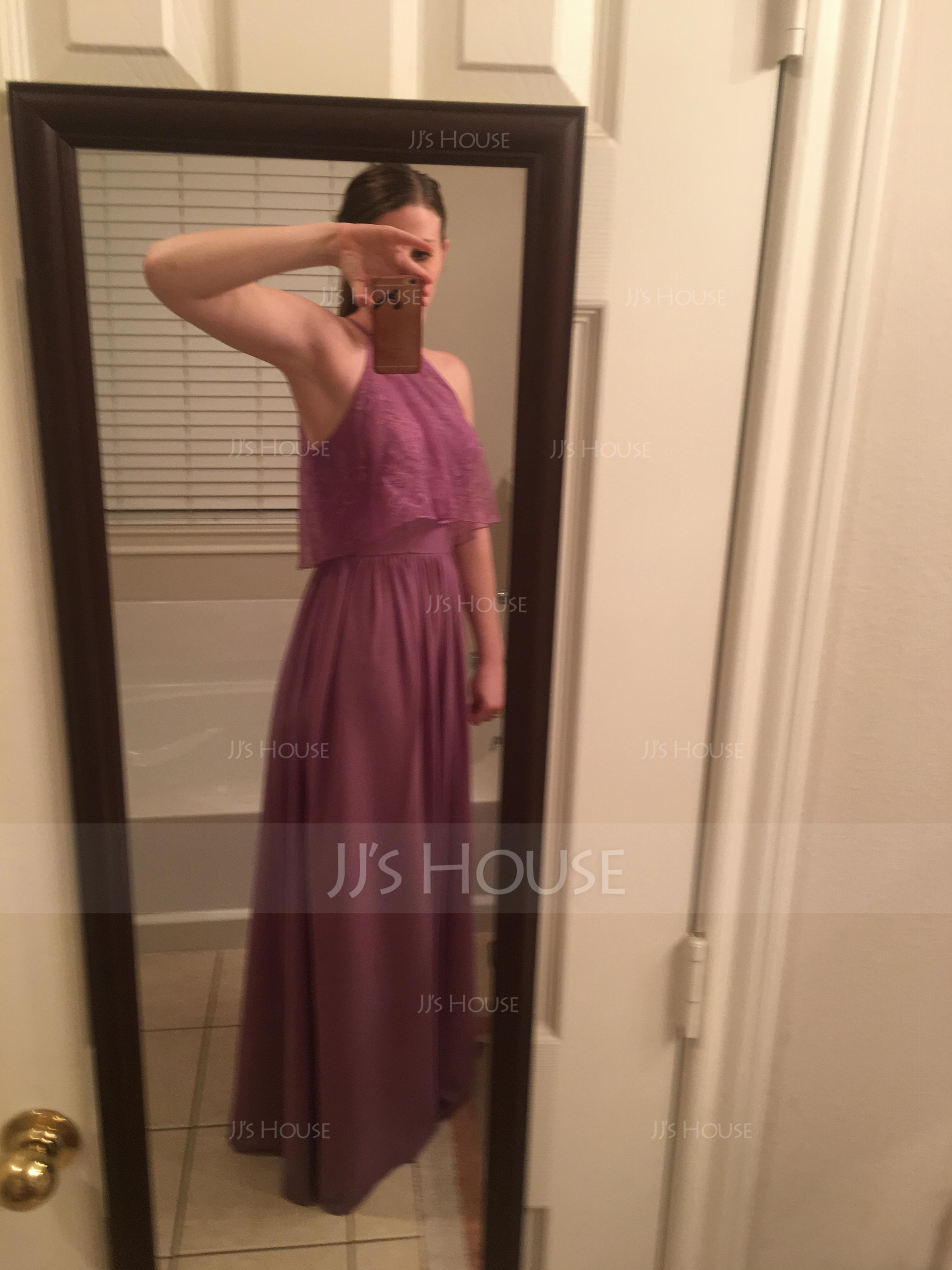 A-Line/Princess Scoop Neck Floor-Length Chiffon Bridesmaid Dress With Ruffle (007090148)