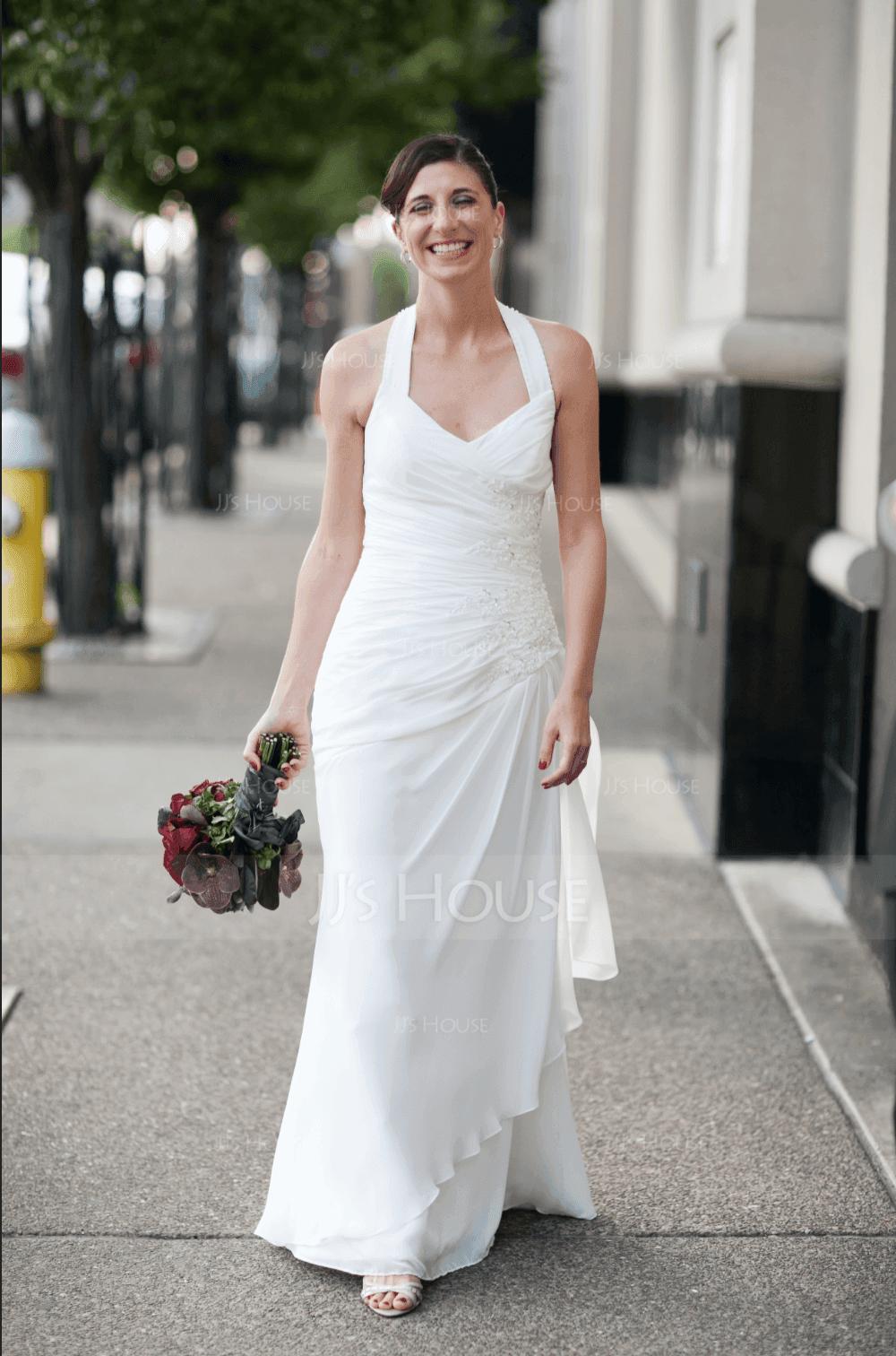 Sheath/Column Halter Floor-Length Chiffon Satin Wedding Dress With Ruffle Beading Appliques Lace Sequins (002012582)